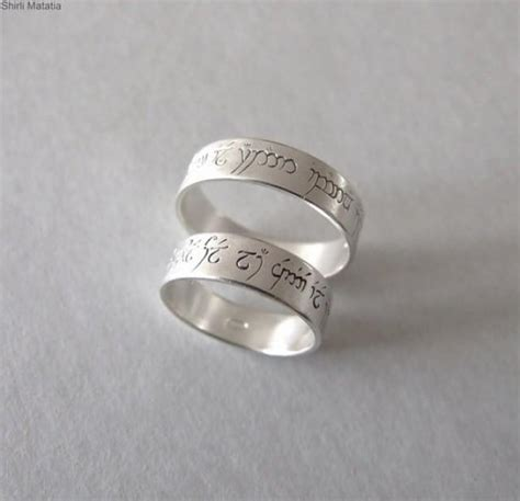 two silver elven love rings wedding bands lord of ther