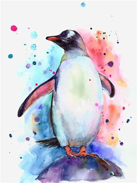Penguin Painting Watercolor