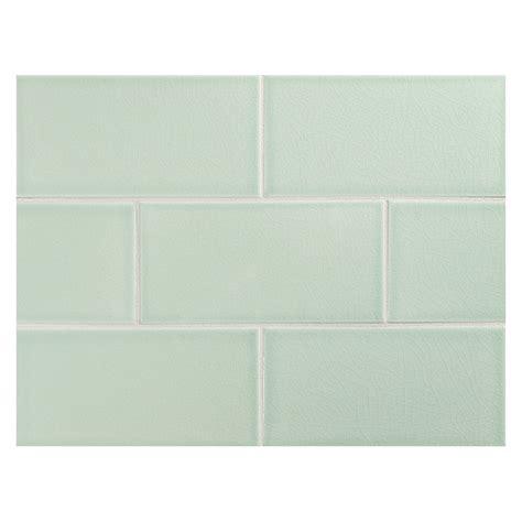 "Vermeere Ceramic Tile  Sage Green Crackle  3"" X 6"