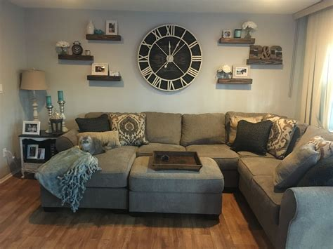 Living Room Wall Decor by Oversized Wall Clock With Floating Shelves Indiana Home