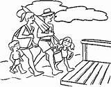 Coloring Beach Pages Gambar Mewarnai Fun Keluarga Boardwalk Printable Together Bersama Berlibur Template sketch template