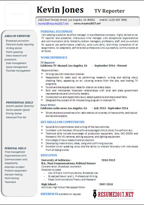 Television News Reporter Resume by Social Media Editor Cover Letter