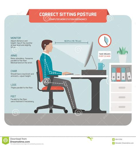 posture bureau correct sitting posture at desk stock vector