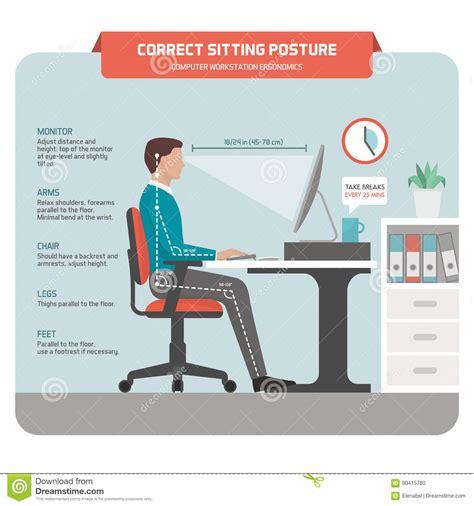 posture bureau correct sitting posture at desk stock vector