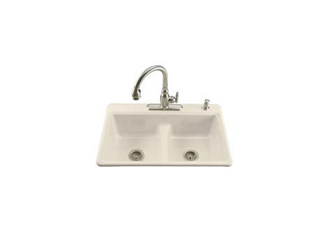sinks for kitchen kohler k 5838 2 47 almond basin smart divide cast 6936