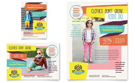 kids consignment shop flyer ad template design