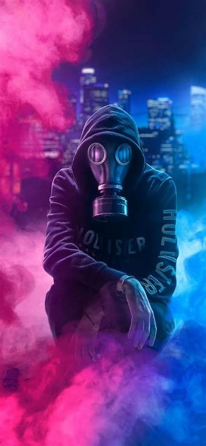 Mask Gas Guy 4k Hoodie Neon Wallpapers