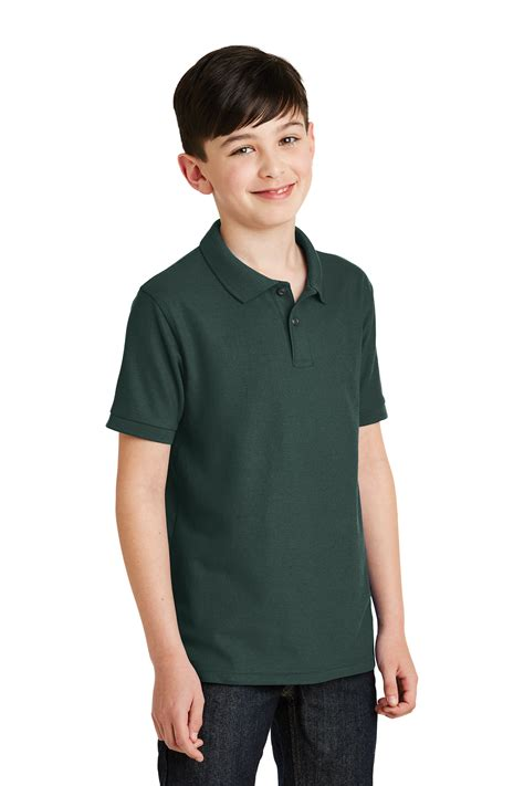 Greenlight Classic Polo Grey port authority 174 youth silk touch polo silk touch
