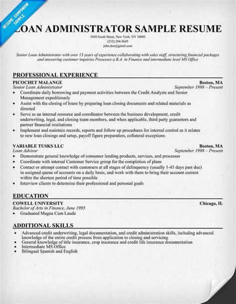 loan administrator resume resume sles across all