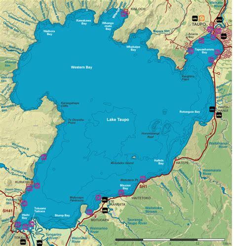Lake Taupo topographic map-map of Lake Taupo topography ...