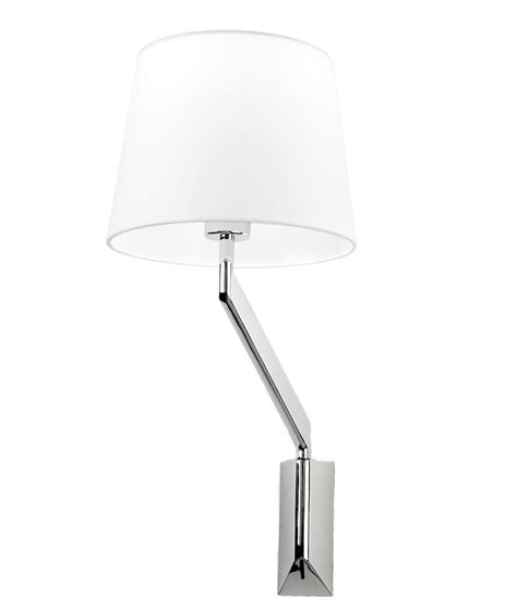 modish chrome swing arm wall light with fabric shade