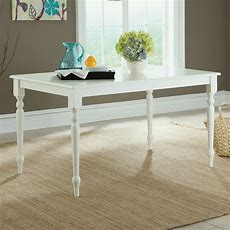 Cottage Farmhouse Style Rectangular Dining Table White