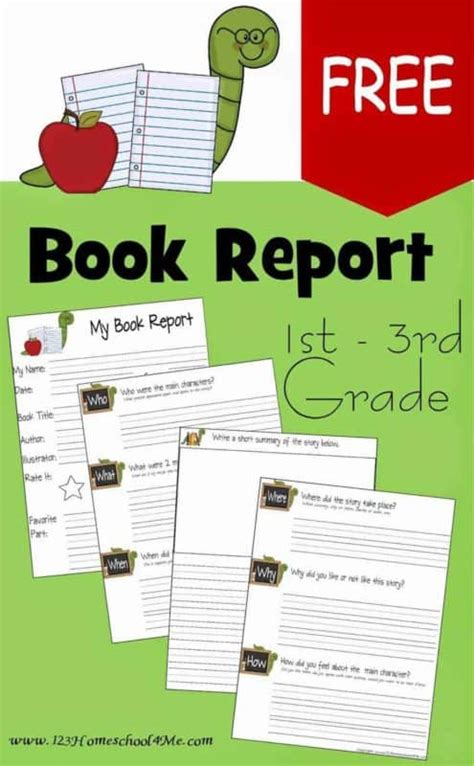 2nd Grade Book Report Forms by Free Book Report Template 123 Homeschool 4 Me
