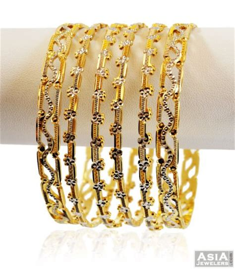two tone gold bangles 6 pc ajba57197 22k two tone rhodium based bangles set 6 pc