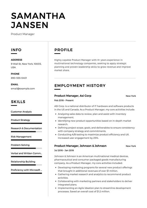 product manager resume sample template  cv