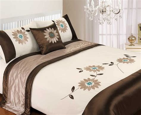 Blue And Brown Duvet Cover by 5 Duvet Quilt Cover Bedding Bed Set Embroidered