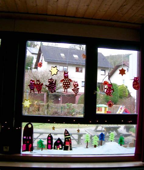 Fensterdeko Herbst Kindergarten by Fensterdeko Im Kindergarten Fensterbild Mit Eulen