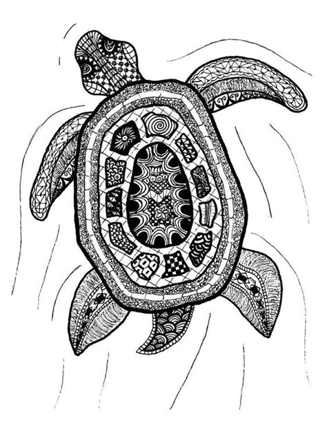 zentangle art zentangle turtle print  printfox  etsy
