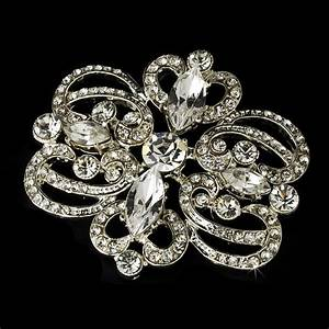 Silver Plated Vintage Rhinestone Swirl Bridal Hair Comb