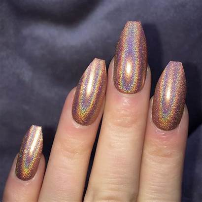 Coffin Holographic Mocha Nails