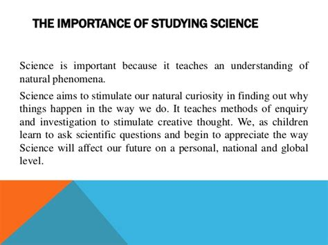 The Importance Of Studying Science