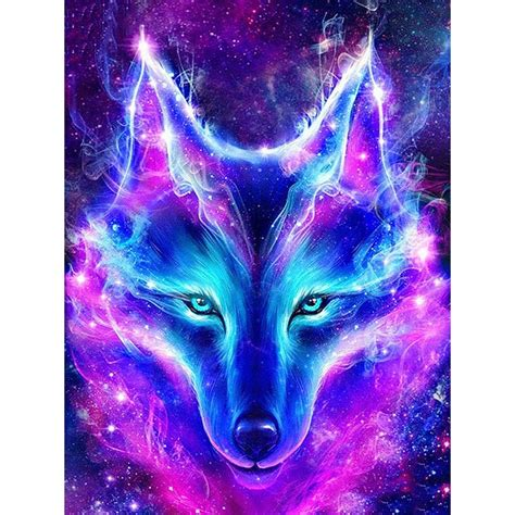 Blue And Purple Wolf Wallpaper by Diy Embroidery Blue Purple Wolf Square