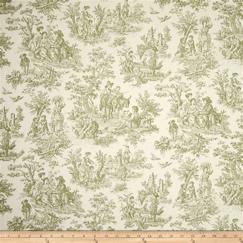 Toile Drapery Fabric - toile in green on cotton upholstery fabric by