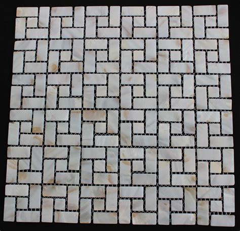 mother  pearl backsplash tile random brick pattern