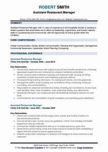 Resume For Human Resource Manager Assistant Restaurant Manager Resume Samples Qwikresume