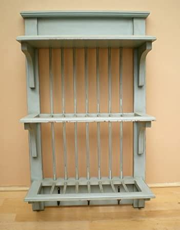 shabby chic duck egg blue kitchen wall plate rack  delivery amazoncouk kitchen home