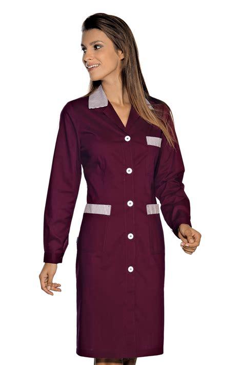 blouse femme de chambre hotellerie blouse de travail manches longues positano bordeaux é