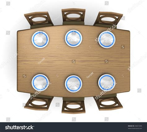 top  view dinner table chairs stock illustration