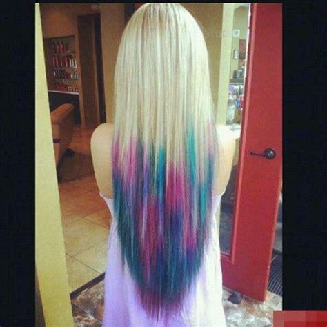 Blonde Aqua Pink Hair Tips Haircolor Pinterest