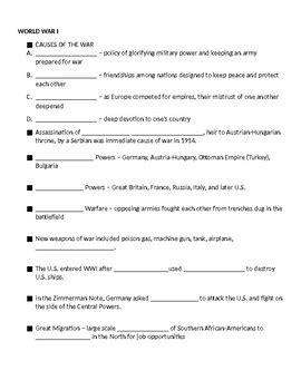 history worksheets grade 8 8th grade u s history review notes worksheet tpt
