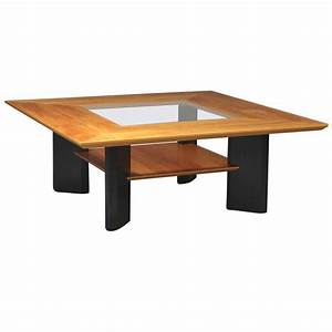 danish modern cherry wood ebonized wood and glass coffee With cherry and glass coffee table