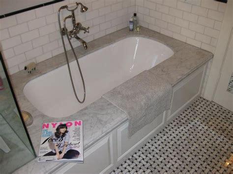 undermount tub  subway tile surround master bath