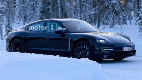 2020 porsche mission e electric sedan spied testing alongside teslas porsche mission e spied getting a winter workout in the snow