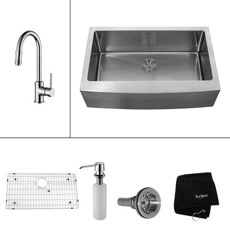 home depot kraus farmhouse sink kraus all in one farmhouse apron front stainless steel 33
