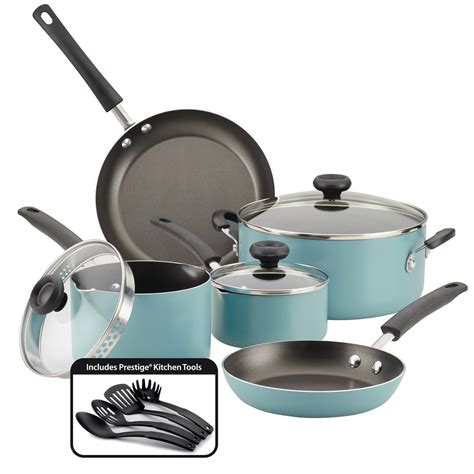 pans pots farberware cookware nonstick aluminum walmart cooking clean piece easy aqua kitchen durable dishwasher safe sets
