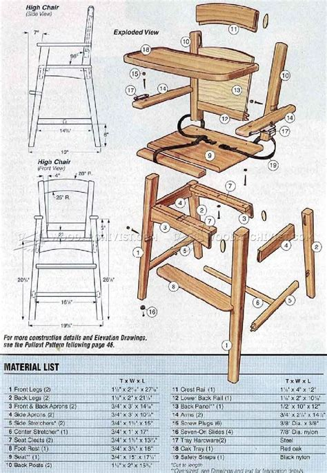 wooden high chair plans woodarchivist