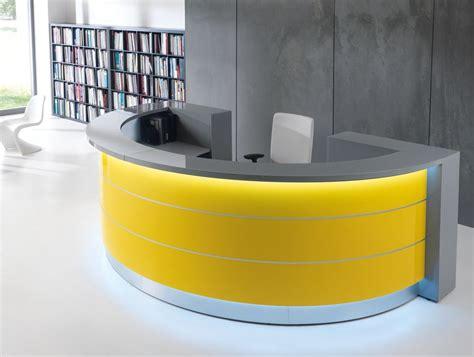 curved reception desks valde curved circular reception desk in yellow reception