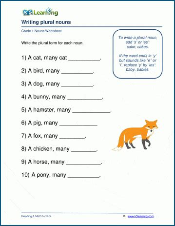 writing plural nouns worksheets  grade   learning