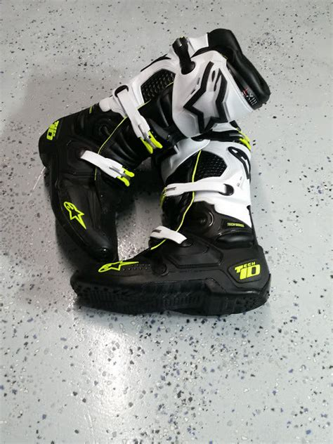 used motocross boots size 12 alpinestars tech 10 black green white size 12 for sale