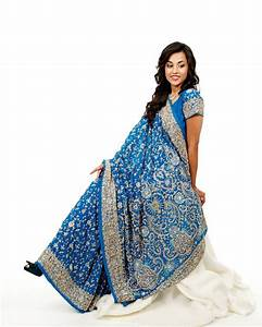 Heavy Embroidery blue Indian Wedding Sari Saree for Rent ...