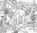 Printable Jurassic Dinosaurs Coloring Dino Brontosaurus Cartoon Dan Drawing King Period Herbivore Eating Lands Ecology Bog Humid Tropical Plant Natural sketch template