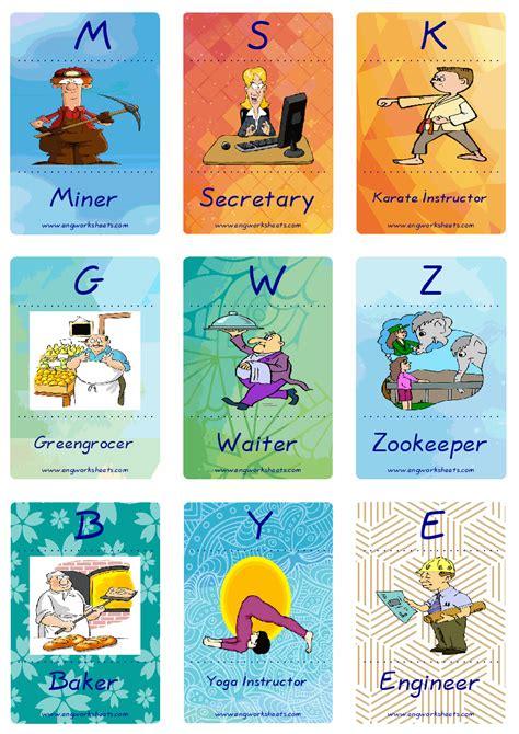 jobs occupations esl printable english flash cards worksheets