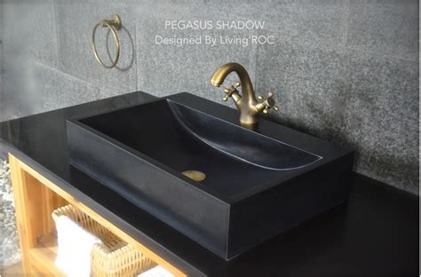 mm black basalt stone bathroom basin pegasus black