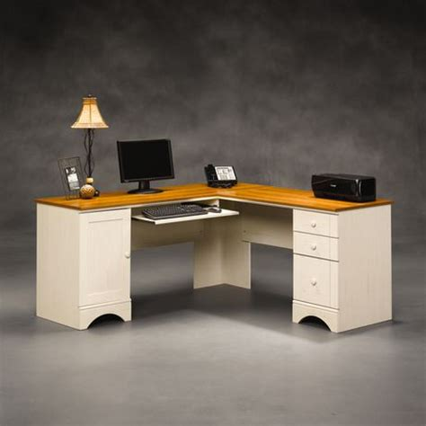 sauder corner computer desk walmart sauder harbor view corner computer desk antiqued white