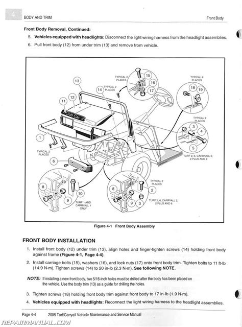 Ga Ez Go Workhorse Wiring Diagram Manual by 2005 Club Car Turf Carryall Turf 1 2 And 6 Carryall 1