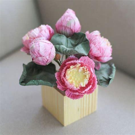 CP111 : ดอกไม้ในกล่องไม้สำหรับตกแต่งโต๊ะคาเฟ่ร้านขนม ดอกบัวสีชมพู - Posie Flowers - ของวางตกแต่ง ...